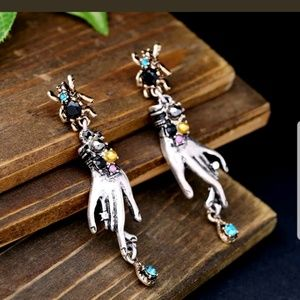 Jewelry - Spider Dangling Hand Crystal Statement Earrings